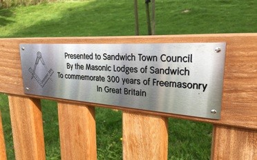 Freemasons' Tercentenary Bench in Sandwich